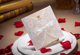 White Wedding Invitations Hollow Foil Stamping Uneven Ribbon Wedding Gift Lace Free Printable Cards Wedding Favors
