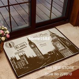 Wholesale Cotton linen Floor non slip ground carpet for living room bedroom doormat the London Big Ben bay window decorative area rugs