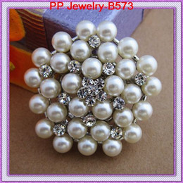Vintage Fashion Faux Pearl Flower Brooch Pins With Crystals Wedding Brooch For Women B573