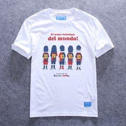 Wholesale Spanish football cartoon Barcelona cotton Slim short sleeve T shirt Lionel Messi Manchester David Beckham RobertoBaggio Juvent