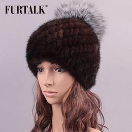 Wholesale Skull Toe Caps - Wholesale-2015 hot sale luxury real mink fur hat winter fur hat striped toe cap covering cap factory price women winter warm cap
