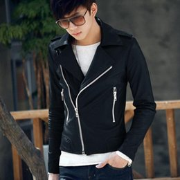 Wholesale Fall best price for Handsome Men s Rock Punk Faux Leather Zipper Stand Collar Jacket Outerwear