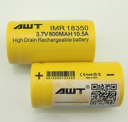 100X AWT 18350 battery 800mah 10.5A high capacity 3.7V Li-ion E-cigs Rechargeable Battery sub ohm e cig box mod battery