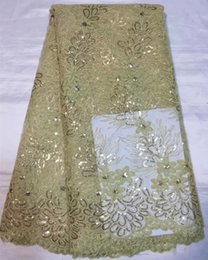 Hot sale wedding lace beige flower embroidery French net material with sequins African tulle lace fabric QN43-8