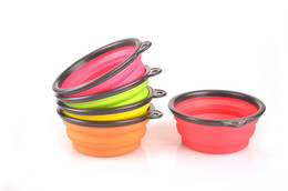 Wholesale-Portable Pet Dog Cat Fashion Silicone Collapsible Feeding Feed Water Feeders Foldable Bowls Dish 6 colors Frisbee Soo6
