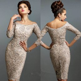 Gorgeous 2016 Off the Shoulder Full Lace Half Sleeves Custom made Knee Length Sexy Mother of the bride Dresses E0172