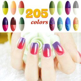 Wholesale Cristina Gel Color - Wholesale-Choose 4 Colors +1 Top Coat +1 Base Gel Cristina Newest 205 Fashion Nail Gel Polish Best 15ML Temperature Change Color UV Gel