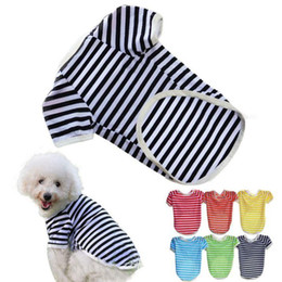 Wholesale Best Deal Hot Sales Fashion Pet Supplies Clothes Puppy Dog Vests Shirt Apparel Costume Stripe Soft T Shirt size XS XL1pc L015
