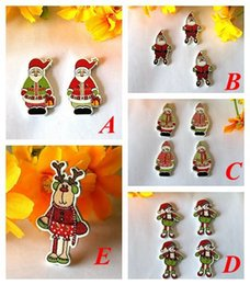 Wholesale 200pcs Mixed Pattern christmas Santa Claus Wooden Decorative Buttons For Sewing Handmade Scrapbooking Crafts botones mm