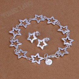 Wholesale Exquisite fashion accessories sterling silver bracelet with two piece suit white stars
