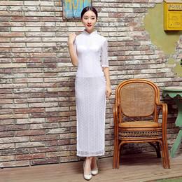Shanghai Story High-grade Lace Cheongsam Dresses Long Cheongsam Qipao Dress Etiquette Qipao Chinese Traditional White