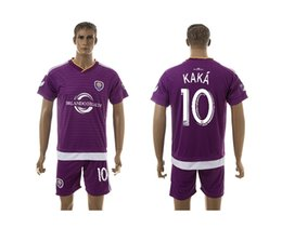 Wholesale 2015 Mens Soccer Kit Orlando KAKA Home Purple Soccer Jersey Short Sports Uniforms able custom name number mix any size color
