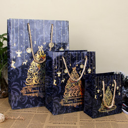 Wholesale Merry Christmas Gift Bag Christmas Tree Art Paper Hand Bag Holiday Party Gift Wrap Color Package SD776