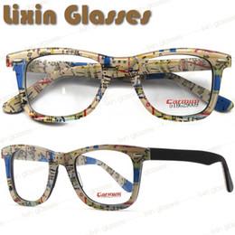 Wholesale New Women Men Fashion Map Design Acetate Clear Lens Glasses Frame Eyeglasses Optical Eyewear On Sale BG29009