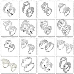 2015 Wholesale Women Men Stylish Band Rings New Silver Plated Rings Nice Fashion Jewelry For Wedding YBLH*10