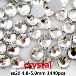 1440pcs   lot crystal ss20(4.8-5.0mm) crystal glass Rhinestone flatback rhinestones silver foiled free shipping
