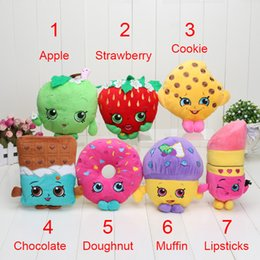 Wholesale pc Play house store toys combition Cookie Strawberry Kiss Apple Mini Muffin doughnut lipsticks Stuffed shopping Plush doll Toys