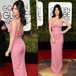 Wholesale Cheap Golden Satin - Cheap New 2016 Golden Globe Custom Split Evening Dresses Sexy Deep V Neck Pink Mermaid Backless Red Carpet Celebrity Gowns Floor Length