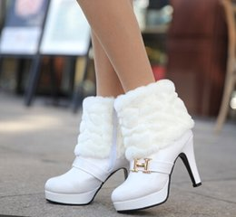 Wholesale-2015 Autumn and Winter Fur Brand Boots Women High Heels White Black Boots Japanned Leather Boot Rabbit Fur Boots Women's Shoes