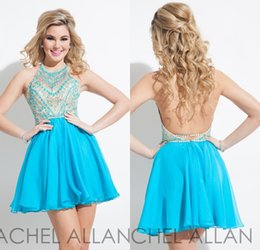 Wholesale Rachel Allan Halter Acqua Homecoming Dresses Custom Made A line Chiffon Mini Cocktail Party Dress Short Prom Gowns Plus Size