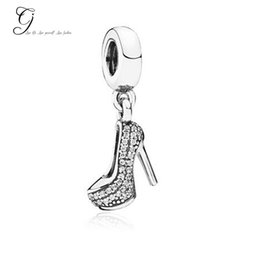 Wholesale Fits Pandora Bracelet Sterling Silver Cinderella Sparkling Crystal High Heel Shoe Charms Dangle For Diy Necklace Jewelry Accessories