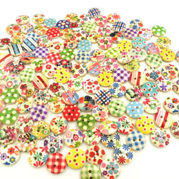 Details about HOUS 100 Pcs Mixed 2 Holes White Round Pattern Wood Buttons Sewing 15mm