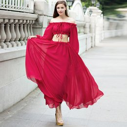 fashion red slash neck long sleeve maxi dress women's two piece dress sets ballroom and latin dance dresses for competition