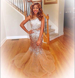 Sparkly Gold Mermaid Prom Dresses Bateau Neck Silver Crystal Beaded Tulle Court Train Pageant Gowns dress gown