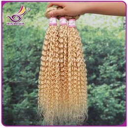 Wholesale 7A Human Hair Extensions Double Weft Remy Blond Weave Mixd Lengths Kinky Curly Queen Hair Sold By Irina Hair g pc DHL