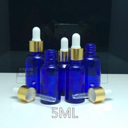 Bouteilles bleu cobalt gros à vendre-100pcs / lot gros Cobalt 5ml Bleu flacon compte-gouttes en verre bouteille d'huile essentielle avec port Dropper DHL gratuit
