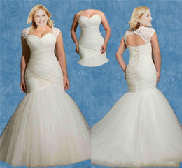 Wholesale Plus Size Mermaid Wedding Dresses Two Piece Detachable Lace Bolero White Ivory Blue Peach Affordable Sexy Cheap Beautiful Bridal Gowns