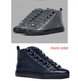Men's Fashion arena High-top genuine Leather Lace Up zapatos hombre French Style Sneakers kanye west Shoes