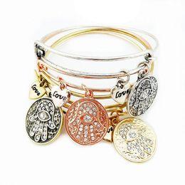 Fashion Girl Charms Bracelet Vintage Bracelets Star Anchor Bracelets Bangles Love Palm Life Tree Metal Pendants Wrist Band For Women Gift