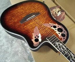 Wholesale round back ovation acoustic electric guitar with fire shell inlay with free hardcase