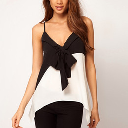 New Fashion Black and White Women Bowknot Strap Tank Tops V-neck Spaghetti Tees Sexy Loose Camis