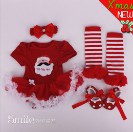 Xmas Baby Girl Infant 4pcs Clothing Sets Leg warmer Santa Clause Tutu Romper Dress Jumpersuit Christmas Bebe Birthday Costumes Vestidos