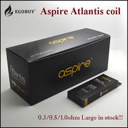 Promotion aspire atlantis méga 2 sous 0.3ohm 0.5ohm bobine 1.0ohm de BVC authentique Aspire Atlantis pour les réservoirs de verre v1 / v2 Aspire Atlantis méga atomiseur