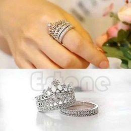 Wholesale-Retro Women White Sapphire Gem Lady Silver Crown Wedding Band Ring Set Size 5-8