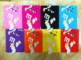 Wholesale 3D Cute M M Rainbow Bean Chocolate Silicone Gel Rubber Case Cover Cute Big Eye Minions for Ipad DHL