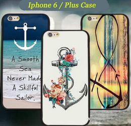 Acheter en ligne Protection téléphone cellulaire-Grossiste Stripe Anchor Marine Punk Tribal Keep Calm Pattern Hard Case en plastique pour la cellule iphone 6 / Plus Cell Phone Couverture de protection