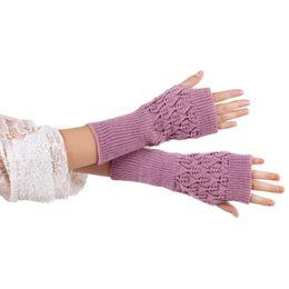 Wholesale-New brand 2015 Fashion Unisex Autumn Winter Hand Arm Gloves Mittens Knit Long Stretchy Warm Fingerless Glove Women Men