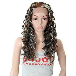 Wholesale Sexy Long Wavy Brown Mixed Black Blonde Synthetic Lace Front Wig Heat Resistant Wig Color Style As the Picture Show Wig Glamour