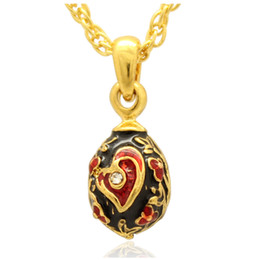 Red heart enamel flower Faberge Egg pendant clear Crystal paved Russian Egg Pendant Necklace for Easter