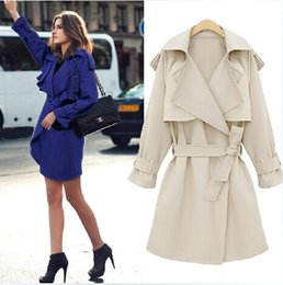 2017 New arrival fashion women slim fit trench coat with waistband outwear jacket cool