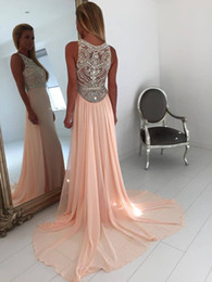 Stunning Crystal Beaded Prom Dresses Chiffon Long Party Dress Cheap Homecoming Graduation Dresses Online Pageant Gowns Evening Dresses