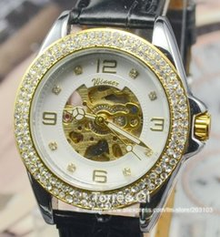 Wholesale arrivals Mechanical Women Skeleton watch Auto watches Crystal Diamond wrist watch Best Gift for Retailer and Wholesaler