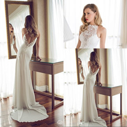 2015 Boho Lace Appliqued Beach Wedding Dresses High Collar Backless A-Line Chapel Train White Chiffon Bridal Gowns Low Price
