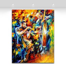 Wholesale Jazz Music Fantastic Musician Play Modern Palette Knife Oil Painting Canvas Prints Mural Picture tel Wall Decor Art