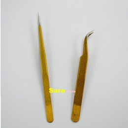 Wholesale 2pcs New Professional Gold Color Curved Straight Tweezers Eyelash Extension Application Tool Beauty Eye Lashes Styling Tool