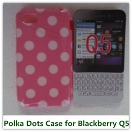 Wholesale 1PCS Colorful Candy Style Soft TPU Wave Polka Dots Back Skin Covers Case for Blackberry BB Q5